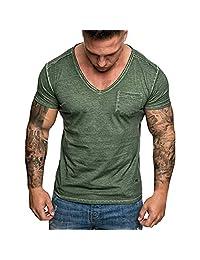 Shinericed Fashion Men's Summer Slim Casual Pocket V-Neck Fit Short Sleeve Top Blouse BSWSJIDN-20