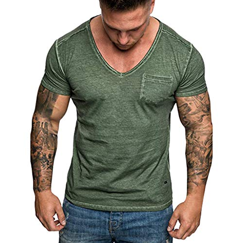 (Men's Fashion Casual V-Neck Shirt, MmNote Men's Muscle Fitness Classic Pocket Design Polyester Cool Quick Short Sleeve Khaki)