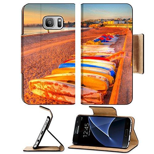 Liili Premium Samsung Galaxy S7 Flip Pu Leather Wallet Case ID: 27505405 Pedalos Goodrington beach near Paignton Devon England on a summer - Hut Mirror Beach