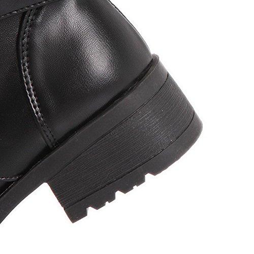 Allhqfashion Dames Gesloten Ronde Neus Lage Hakken Zacht Materiaal Lage Top Stevige Laarzen Zwart