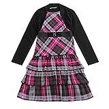 7 year old clothes - Bienzoe Girl's Long Sleeve Knit Jumper School Uniforms Button Layer Dress Black/Purple S