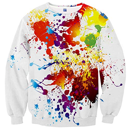 (Yasswete Unisex 3D Colorful Paint Printed Pullover Crewneck Colorful Tops for Mens Womens Size S)