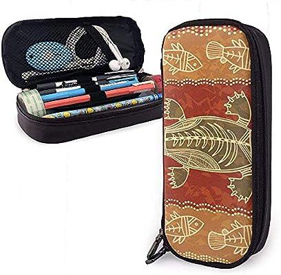 Estuche de lápices de cuero tribal de ornitorrinco y pez, bolsa de bolsa de lápices con cremallera y soporte para bolígrafo Estuche estacionario de cuero de nanoprint: Amazon.es: Oficina y papelería