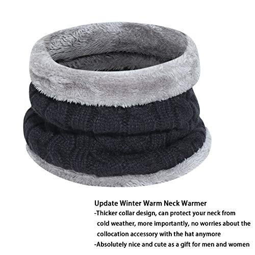Men's 2-Pieces Winter Beanie Hat Scarf Set Warm Knit Hat Thick Fleece Lined Winter Cap Scarves for Men Women 3