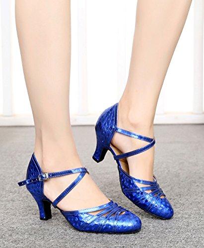 Damen mit 6cm MGM Keilabsatz Plateau Durchgängies Joymod Heel Floral Sandalen Blue XFn7q5w