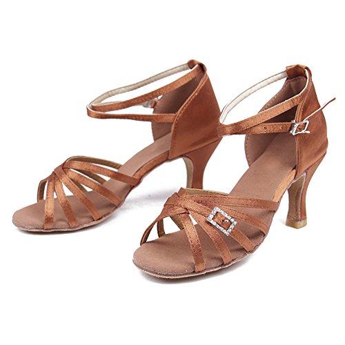 HROYL Zapatos de baile/Zapatos latinos de satén mujeres ES7-F19 marrón