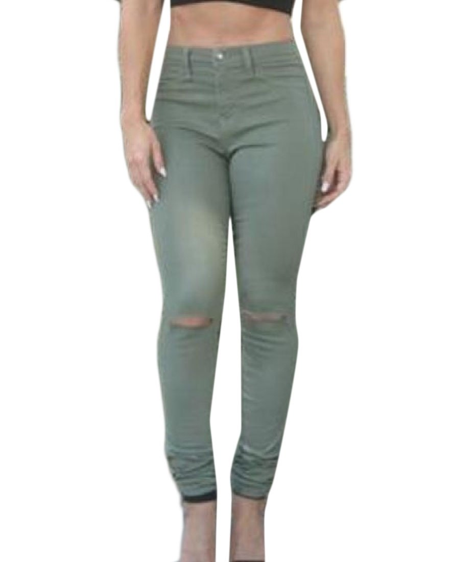 DoufineWomen Doufine Women's Summer Vogue Ripped Holes High Waisted Sexy Casual Jeans Pants Army Green S