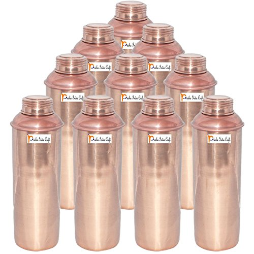 750 ML / 25 oz - Set of 10 - Prisha India Craft ® CHRISTMAS GIFT Pure Copper Water BottlePitcher for Ayurvedic Health Benefits - Handmade Copper Water Bottles by Prisha India Craft
