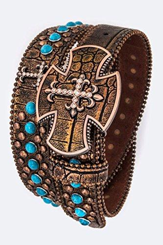 Chic Chelsea Crystal Cross Buckle Studded Western Belt (Turquoise Cross Belt)