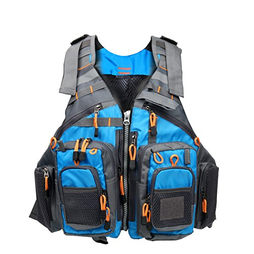 Amarine-made Fly Fishing Vest Pack (Fishing Vest/Fishing Sling Pack/Fishing Backpack) (Blue)