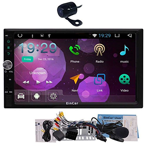 EinCar 2018 Android 7.1 OS Car Electronics in Dash Double 2 Din GPS Navigation Head Unit support Dual Cam-in Wifi 3G/4G Dongle Optional OBD2 1080p Video in & out with FREE backup Camera