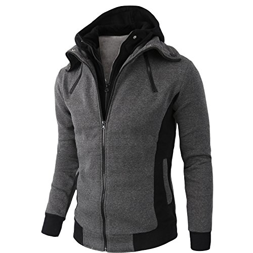 Manwan Walk Men's Cotton Double Full Zipper Fleece Hoodie W97 (XXX-Large, Grey)