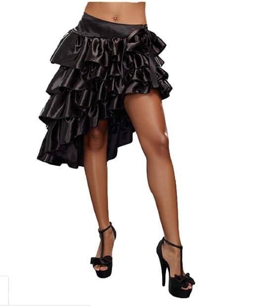 GGTBOUTIQUE - Falda - con Volantes - para Mujer Negro Negro Large ...