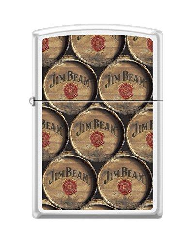 Zippo Jim Beam Barrels White Matte Pocket Lighter (Jim Beam Zippo)