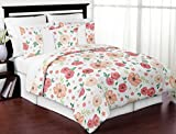 Sweet Jojo Designs Peach and Green Shabby Chic Watercolor Floral Girl Full/Queen Kid Teen Bedding Comforter Set-3 Pieces-Pink Rose Flower