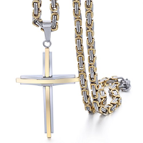 Hermah Mens Chain Cross Pendant Necklace Stainless Steel Gold Silver Tone Vintage Byzantine Link 24inch -