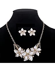 Gold Plated Austrian Crystal Enamel Flower Jewelry Sets Women African Costume Sapphire Jewelry Maxi Necklace Earring Set^F714