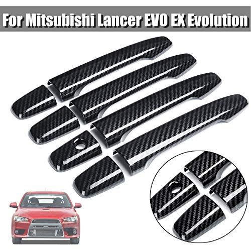 Udele-Store - 8 Pieces ABS Carbon Fiber Style Door Handle Cover For Mitsubishi Lancer EVO EX Evolution Generation Car ()