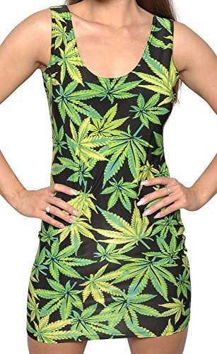 BadAssLeggings Women's Cannabis Sleeveless Above Knee Dress Large Green