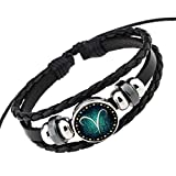 Rosemes Retro 12 Constellation Beaded Hand Woven Leather Bracelet PUNK Chain Cuff Aries