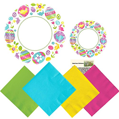 Easter Plates Paper Party Supplies Premium Set Dinner Plates Dessert Bunny Plates Napkins Egg Hunt Recipe Kit Pack Serves 40 (161 Pieces) Fun and Easy - Easter Bunny Paper