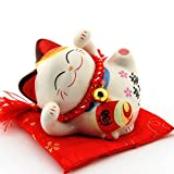 Ceramic Thriving Business Happy Maneki Neko Lucky Cat(Beckoning Cat),Best Gift for Business Opening,Feng Shui Decor Attract Wealth and Good Luck