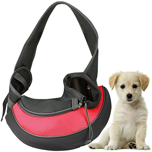 GPCT Pet Puppy Carrier Sling Hands-Free Shoulder Travel Bag. Great for Walking Your Pet. Dog Cat Pet Puppy Outdoor Reversible Pouch Mesh Shoulder Carry Bag Tote Handbag Carrier- (Red Small) ()
