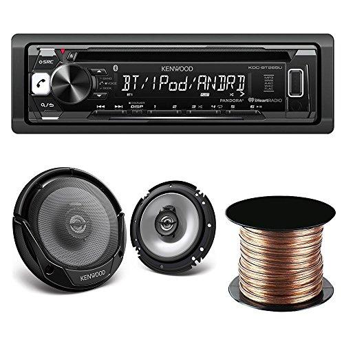 "Kenwood KDC-BT265U Single DIN Bluetooth In-Dash CD/AM/FM Car Stereo + Kenwood KFC-1665S 60W 6.5"" 2-Way Coaxial Speakers Tweeters + SW1850 Digital Audio Speaker Wire, 18 AWG, (50 feet) -  KDCBT265U, KFC1665S,SW1850"