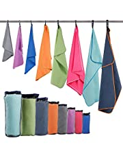 Microfiber Sport Travel Towel Set-(Size:S, M, L, XL, XXL)- Quick Dry, Super Absorbent, Ultra Compact Towels-Fit for Beach Yoga Golf Gym Camping Backpacking Hiking+Hand Towel & Carry Pouch
