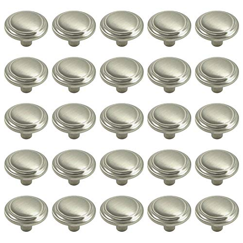 Pack of 25 Brookwood Brushed Satin Nickel Cabinet Hardware Round Ridge Classic Knobs