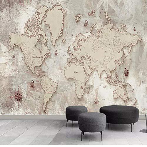 Fifikoj Custom 3D Photo Wallpaper Retro World Map Wall Painting Living Room Study Elder's Bedroom Background Wall Murals Home Decoration-360x230cm