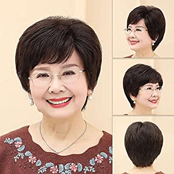 Amazon Straight Hair Wig Middle Aged Mother Ms Real Hair