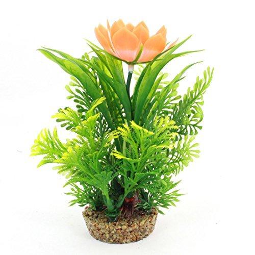 (DealMux Fish Tank Decor Flower Detail Water Pot Plant 17cm High Green Orange)