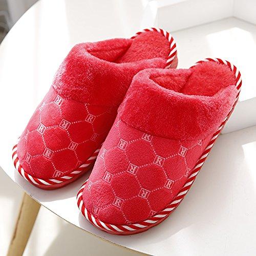 Fankou Autunno e Inverno moda pantofole di cotone femmina maschio spessa soggiorno caldo piano anti-slip piscina ,37-38, in rosso
