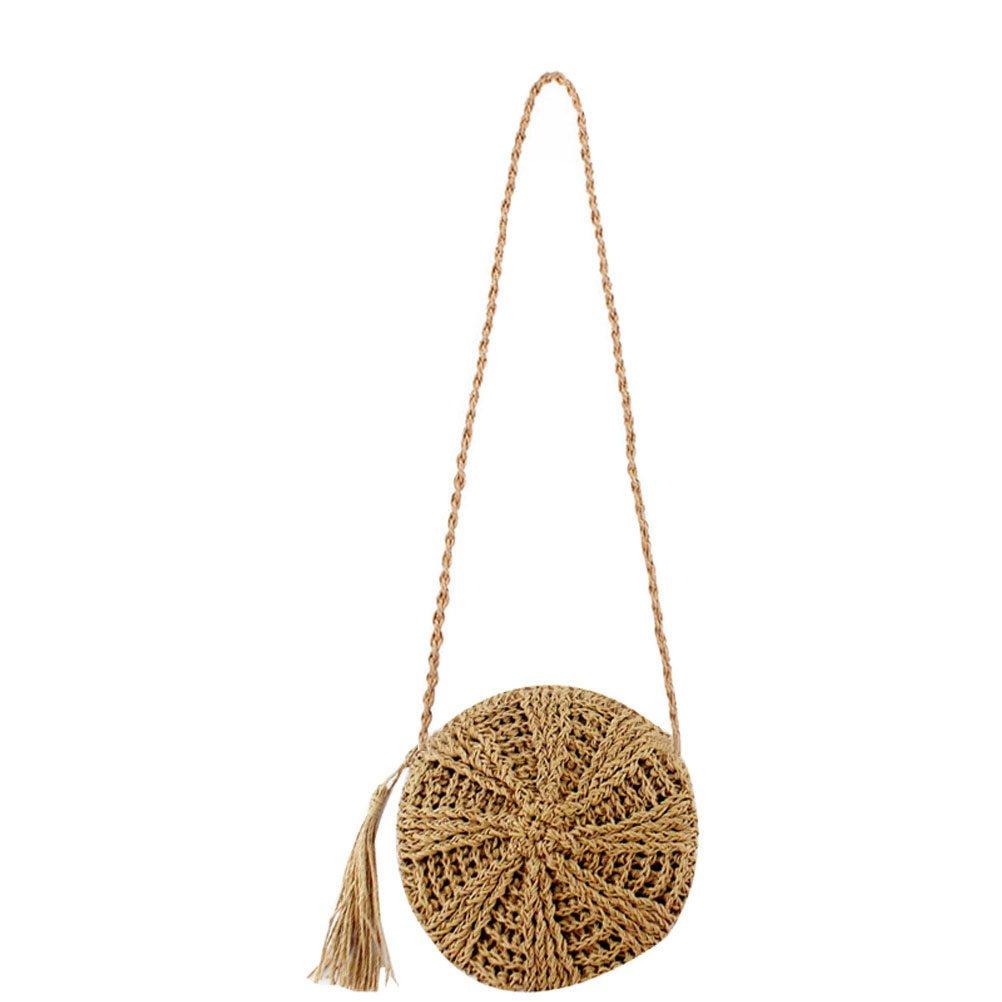 Donalworld Women Beach Bag Round Straw Crochet Shoulder Summer Bag Purse S Flcf by Donalworld (Image #1)