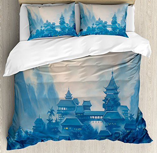 Pillow Sham Mist (Ambesonne Asian Duvet Cover Set King Size, Chinese Temple Paint Mist with Lanterns at Night Artsy Oriental Spiritual Religious Image, Decorative 3 Piece Bedding Set with 2 Pillow Shams, Blue)