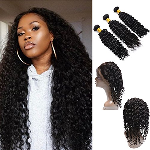 360 Lace Frontal With Bundles Pre Plucked Deep Wave Brazilian Virgin Hair 360 Frontal for Black Women 9A Deep Curly Lace Frontal With 3 bundles (10 12 14 with 10, - West Hours Mall Co