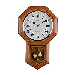HENSE 20 inch Antique Retro Elegant Schoolhouse Plastic Imitation Wood Wall Clocks, with Ultra Mute Silent Quartz Movement & Swinging Pendulum (HP22-US)