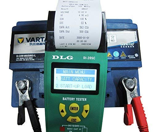 DLG DI-205C 12V 24V Automotive Truck Battery Tester Checking CCA/SOH/Internal Resistance/Starting System/Charging System/Maximum Load System Printer English Spanish Interface by DLG (Image #1)