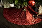 Classic Red Christmas Tree Skirt - Embroidered Taffeta - 52