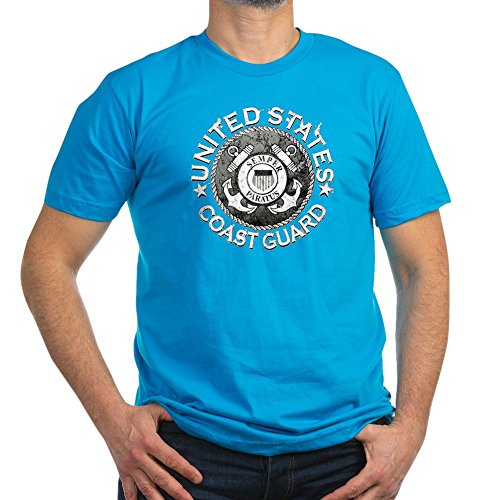 Royal Lion Men's Fitted T-Shirt (Dark) US Coast Guard Semper Paratus Emblem - Teal, Large - Coast Guard Fitted T-shirt