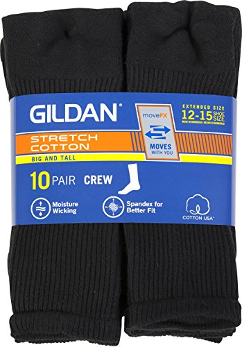 Gildan Men's Big & Tall (Shoe size 12-15) Cotton Black Crew Socks, 10-pack big discount