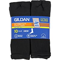 Gildan Men's Big & Tall (Shoe size 12-15) Cotton Black Crew Socks, 10-pack