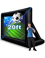 20 Feet Inflatable Outdoor and Indoor Theater Projector Screen - Includes Air Blower, Tie-Downs and Storage Bag - Portable, Front & Rear Projection for Movie Nights Backyards Pool Party