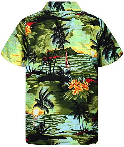 12xl King Vert Le courte Hawaïenne Hommes imprimer Surf Hawaiian avant Chemise Foncé Funky Xs Kameha Poche Manche qrwTqZY