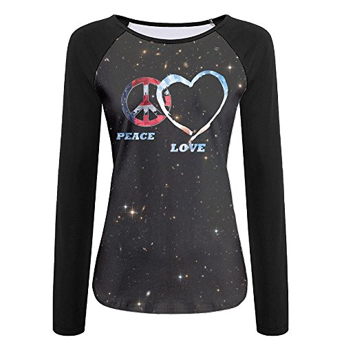 American Flag Peace Love Womens Comfort Crew Neck Long Sleeve Raglan T-Shirt Baseball Tshirt by HGYK Shirt (Image #1)