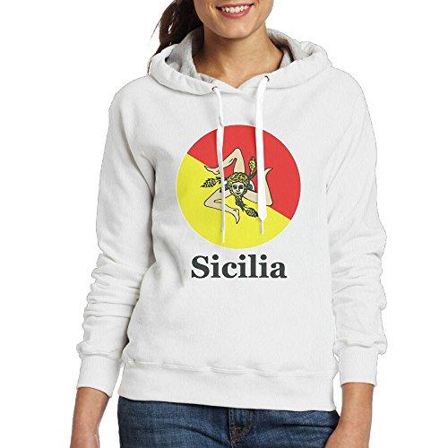Sweat À Capuche Womens Sicilia Fierté Poche Kangourou Cordon De Serrage Sweat-shirt Blanc