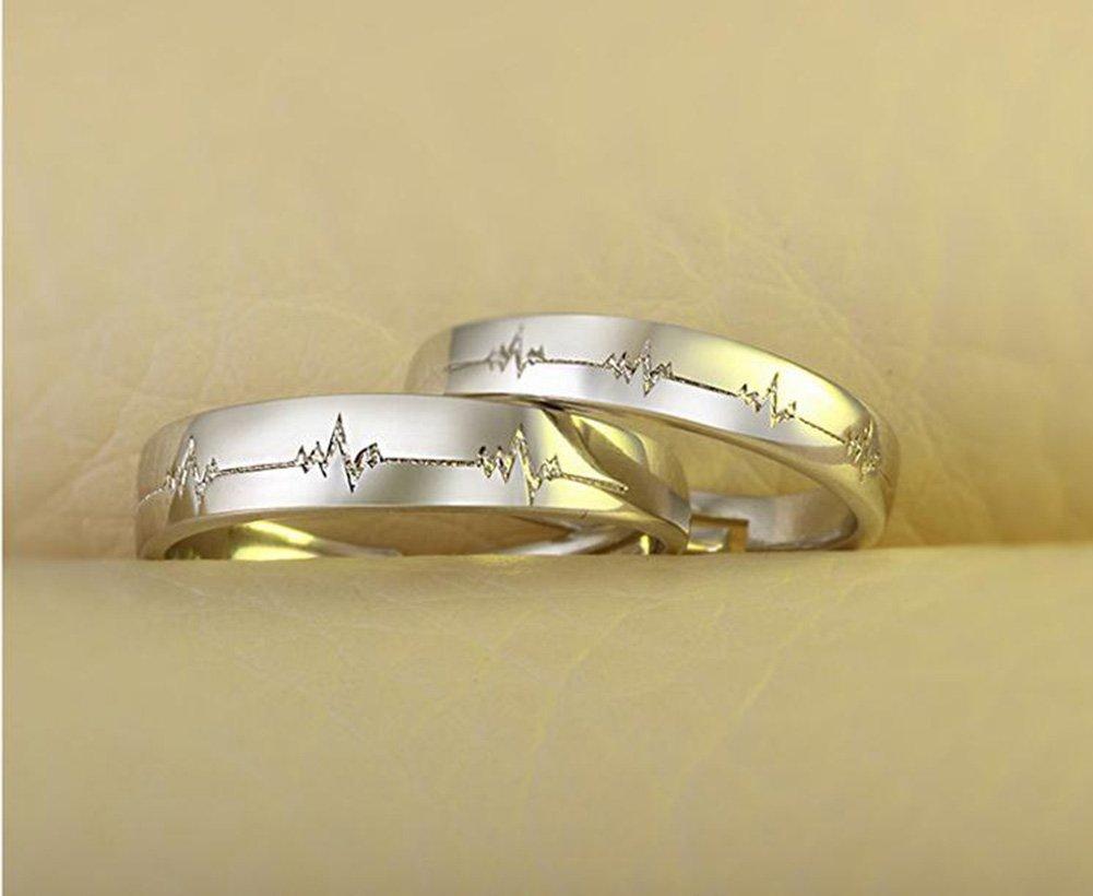 Leisial 1 par Anillo de Pareja Patrón de Latido del Corazón Acero Inoxidable Anillos de Compromiso Anillo de Matrimonio para Novia Novio Ajustables: ...