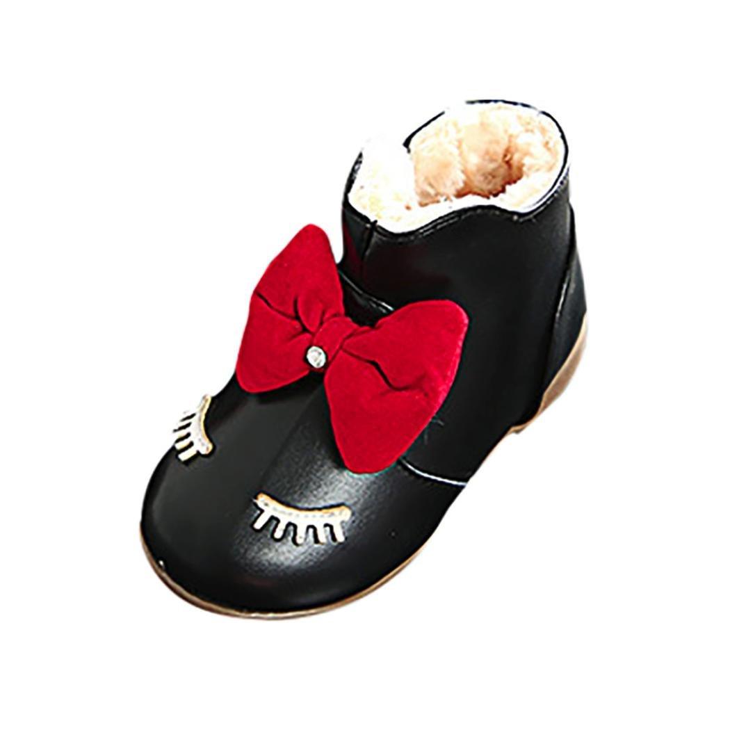 Staron Kids Shoes Toddler Baby Girls Bow Cartoon Eyelash Soft Boots Sneaker Shoes