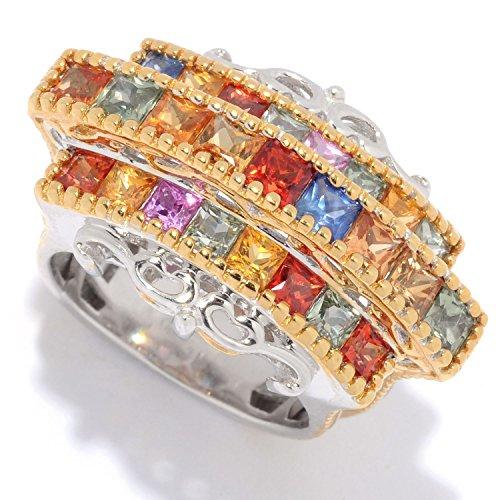 Michael Valitutti Palladium Silver Princess Cut Multi Sapphire Three-Row Ring